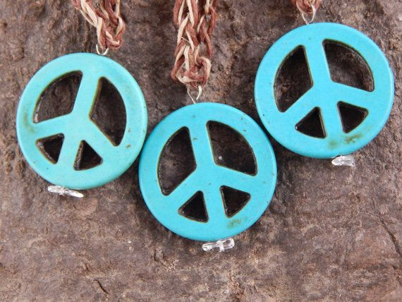 Turquentine Dyed Howlite Peace Sign & Hemp by HelenDeesArtistries, $13.00
