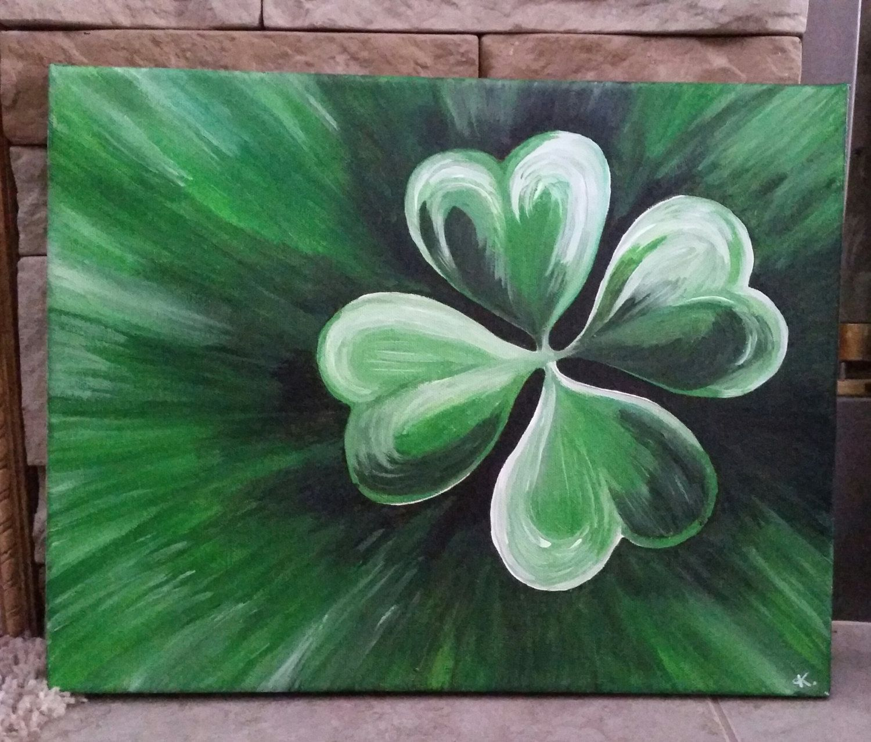 Shamrock Saint Patricks Day Art Clover Painting Canvas Painting Diy