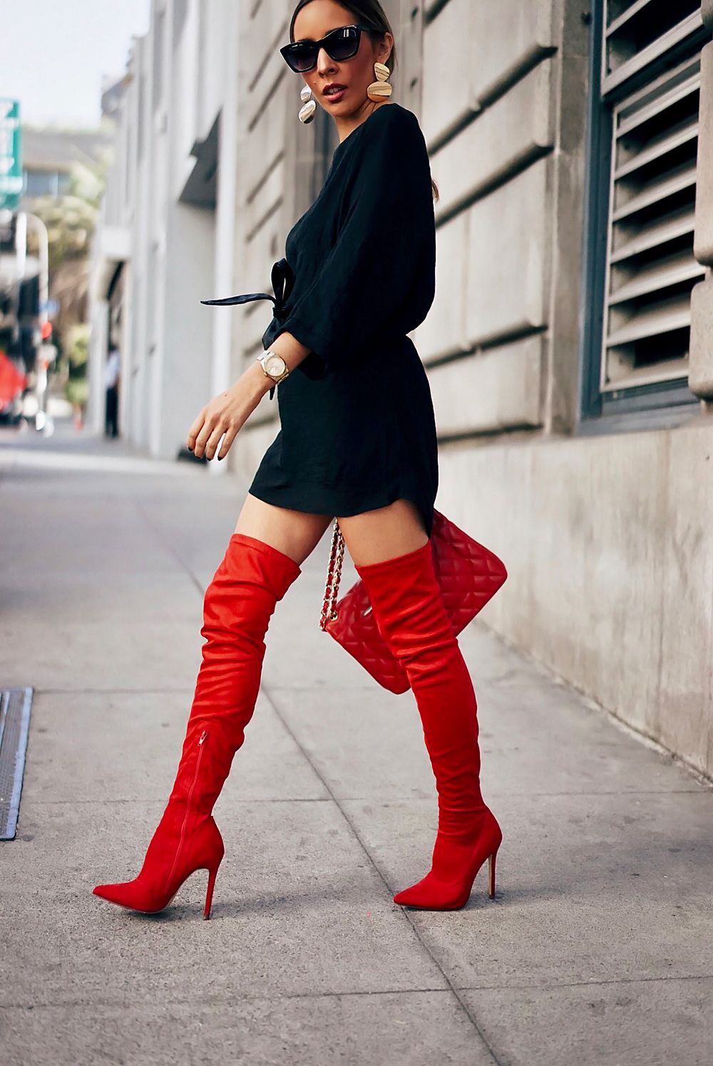 063ef450f5c HOW TO WEAR RED THIGH HIGH BOOTS THIS FALL #redboots #chanelbag ...