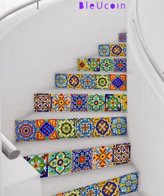 Photo of Tabasco Kitchen/Bathroom Backsplash Tile/ Wall/ Stair/Floor decal, Removable Floor Vinyl Decal, Stair Riser, Cabinet Decal