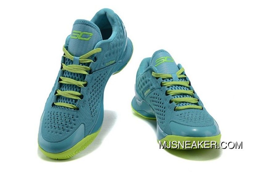 newest 66128 55515 Under Armour Stephen Curry 1 Low Light Blue Green Shoes Free Shipping