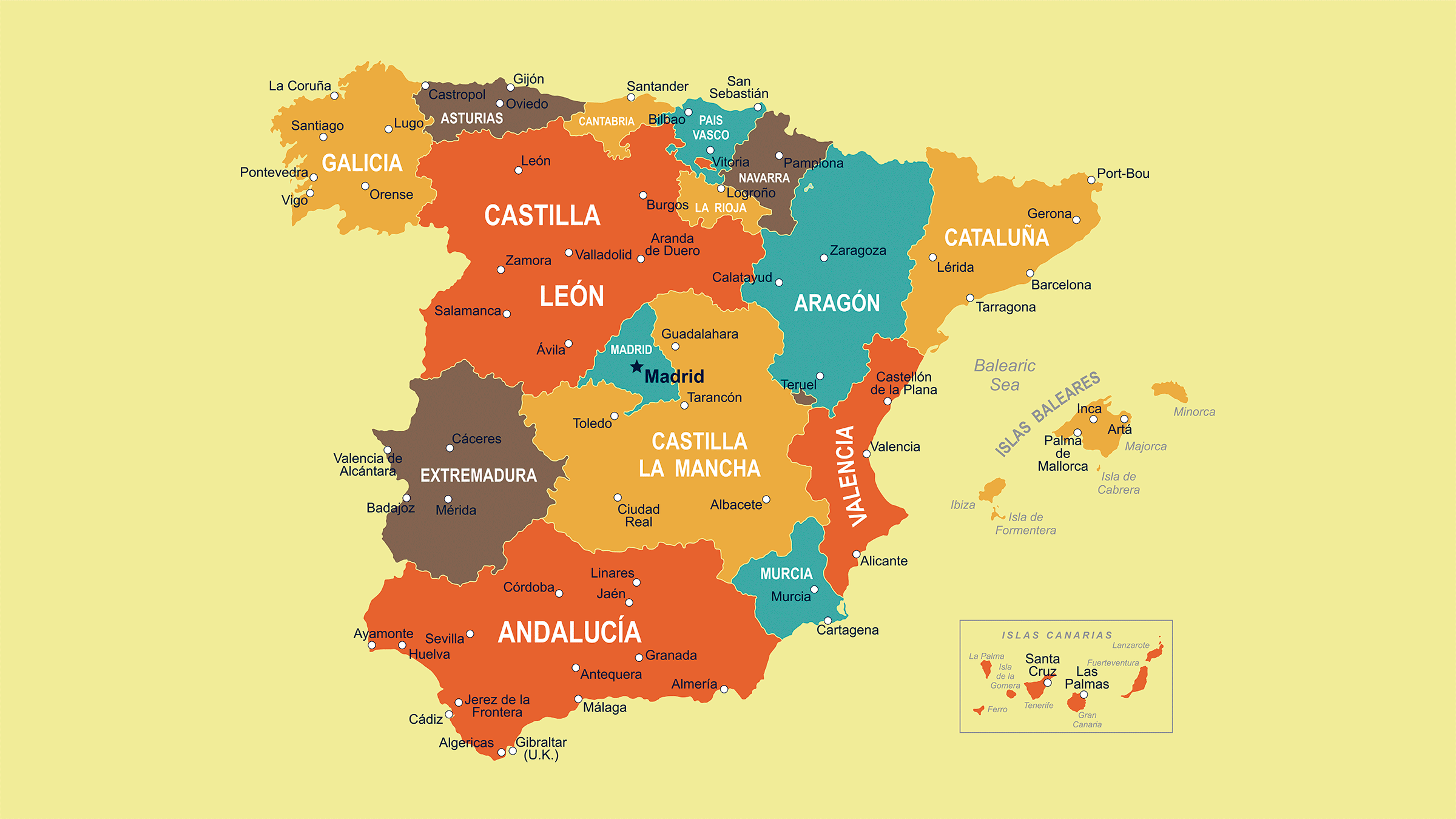 Mapa Comunidades De España.Mapa De La Division De Espana En Comunidades Autonomas