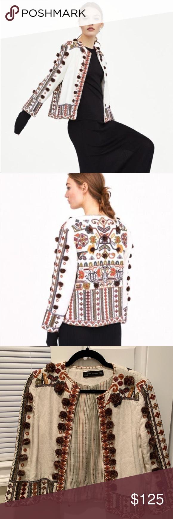 Zara Embroidered Pom Pom Jacket Xs In 2019 My Posh Picks