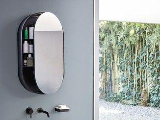 Specchio ovale a parete con contenitore i catini oval box bagno
