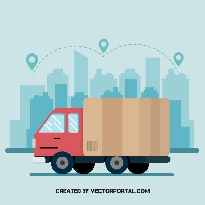 Shipping Truck Vector Graphics Dengan Gambar Mobil
