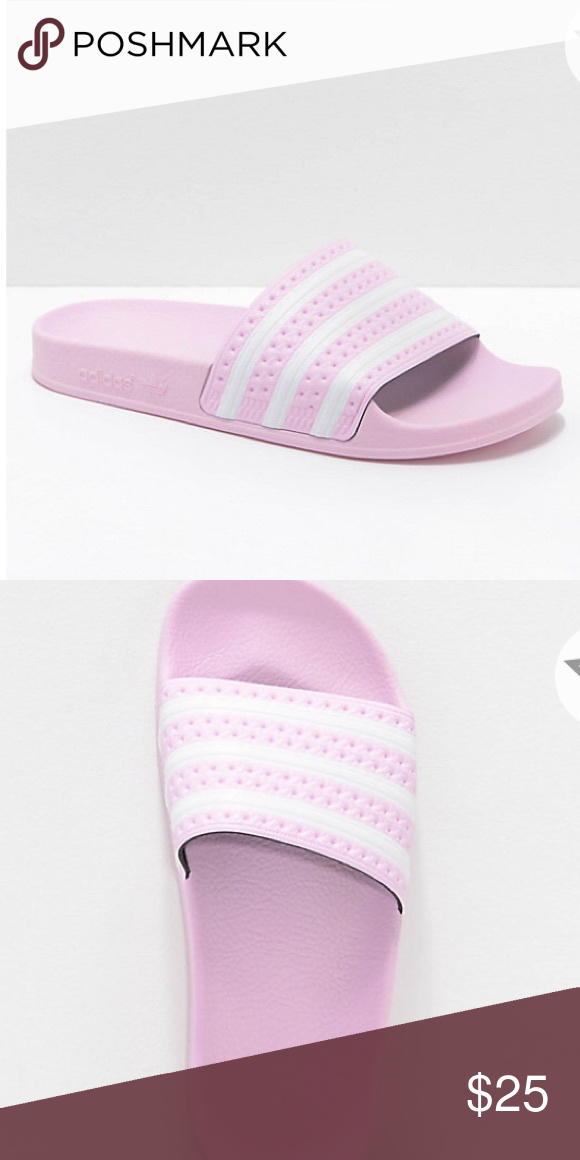 84d01d35afe6 Baby pink adidas slides (KIDS) Baby pink adidas slides. Super cute! Worn  once. This is a KIDS size 5! Which means 6.5 7 in Women s.