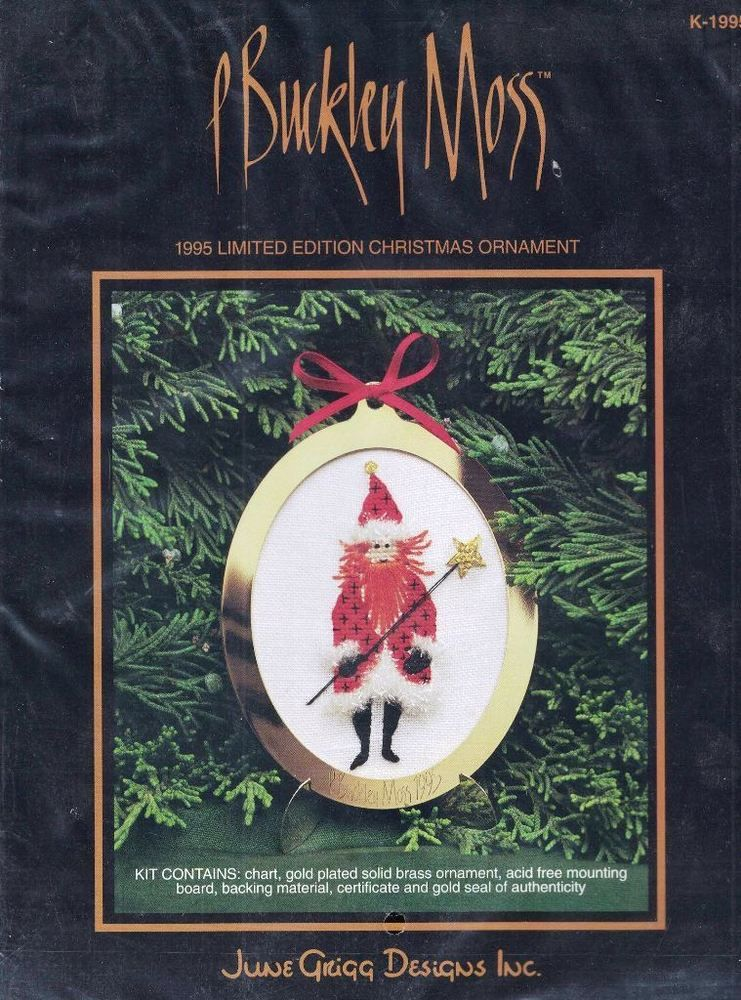 1995 P Buckley Moss Cross Stitch Kit Limited Edition Christmas Ornament  K-1995 #JuneGriggDesigns #ChristmasOrnament - 1995 P Buckley Moss Cross Stitch Kit Limited Edition Christmas