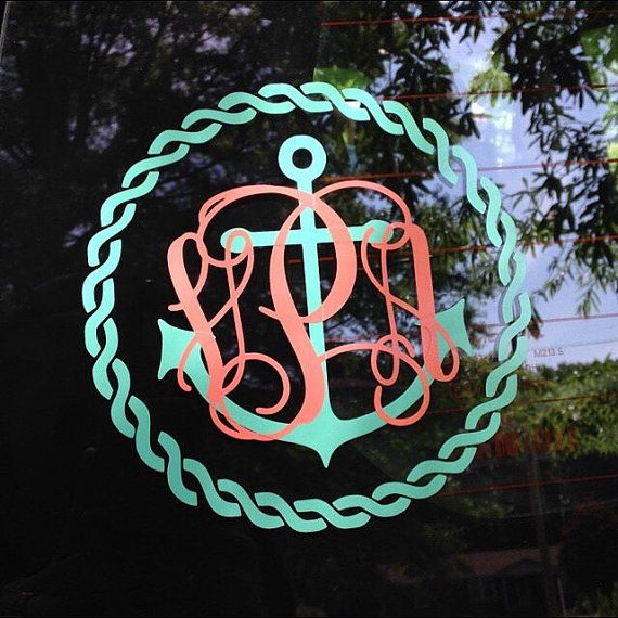 Anchor Rope Monogram Decal Car Decal Vinyl Decal Nautical Anchor - Anchor monogram car decal