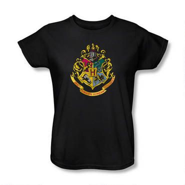 Add this Harry Potter Hogwarts crest t-shirt to your wardrobe!  This stylish, 100% cotton black t-shirt features the official Hogwarts school crest on the front.  Available in women's sizes.<BR><BR><B>Please note:</B> Unlike our women's fitted t-shirts, this women's relaxed fit t-shirt runs true to size.