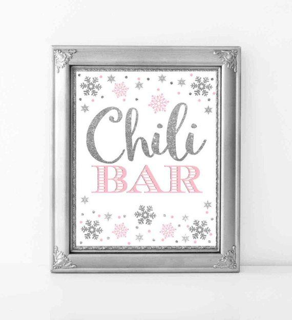 Chili Bar Sign, Pink and Silver Chili Bar Sign 8x10, Winter Onederland Decorations, Winter Baby Shower Decorations, Digital File.