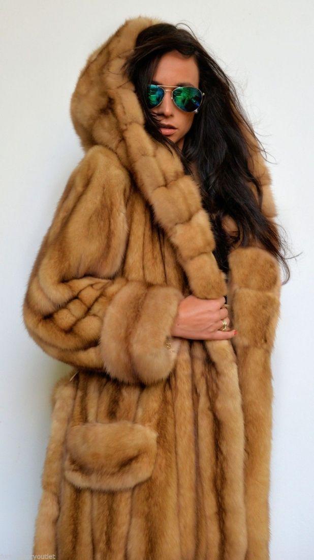 sable furs - gold russian sable long fur coat with big hood | Fur ...