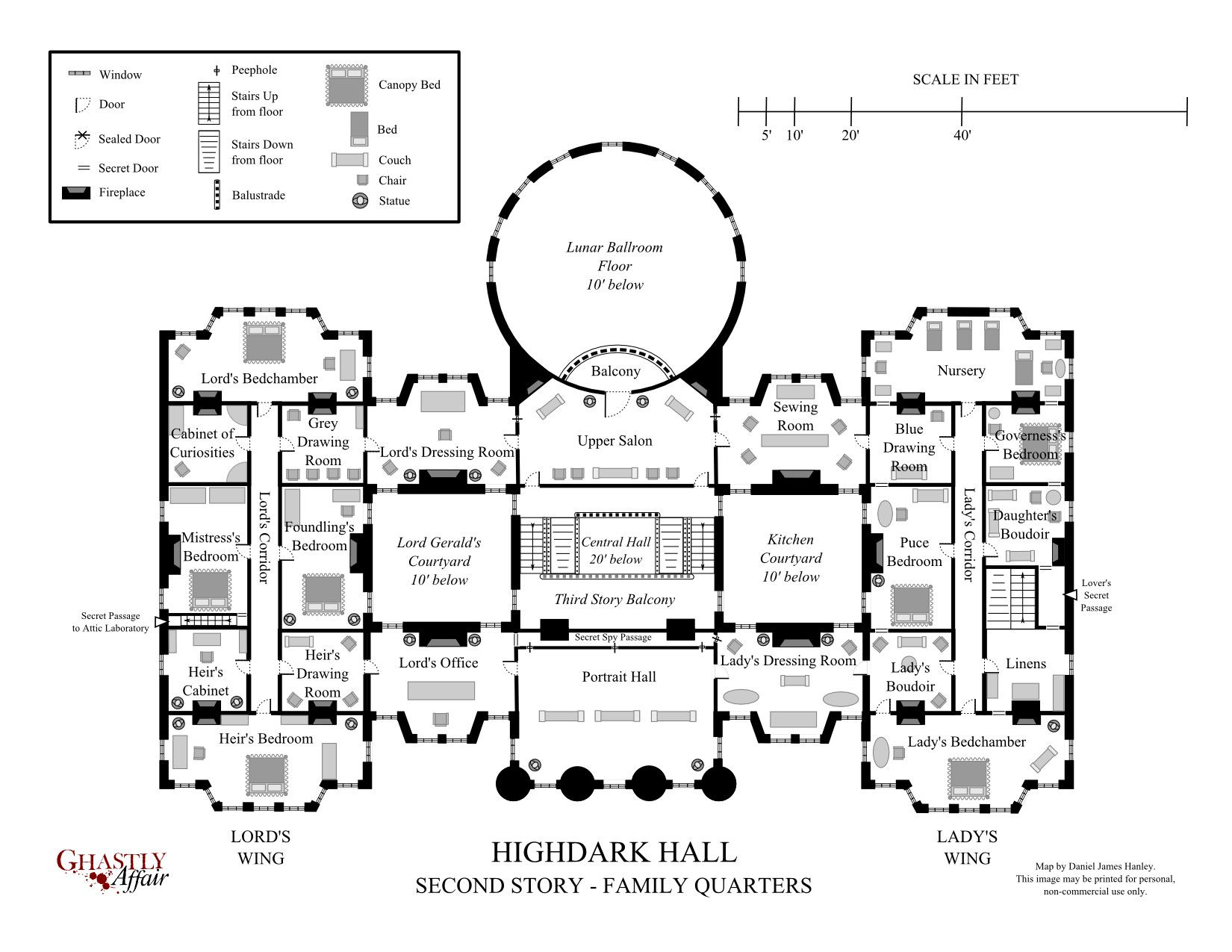 Highdark Hall A Setting For Gothic Roleplaying Mansion Floor Plan Hotel Plan Gothic Mansion