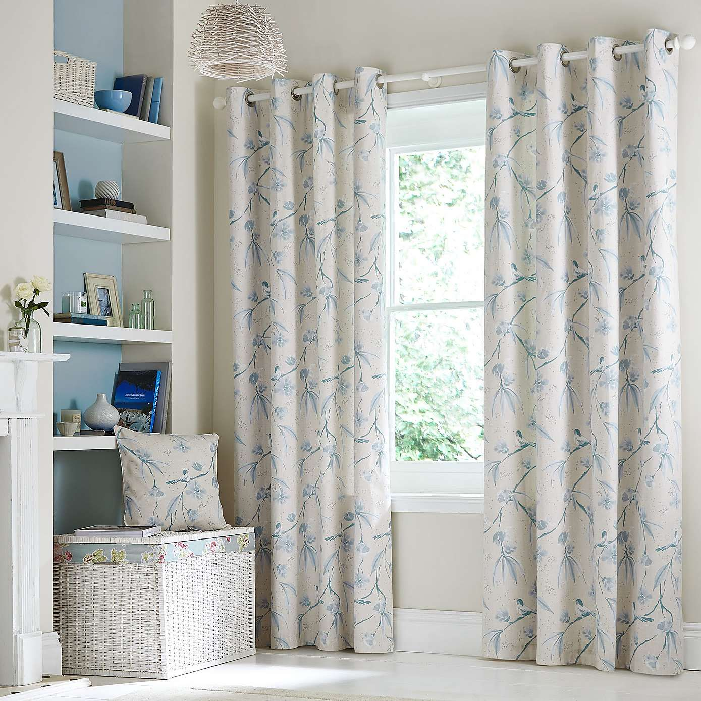 Duck Egg Laila Lined Eyelet Curtains Dunelm Curtains