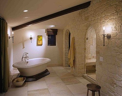 stone wall.no natural light-big space tub platform neutral light ...