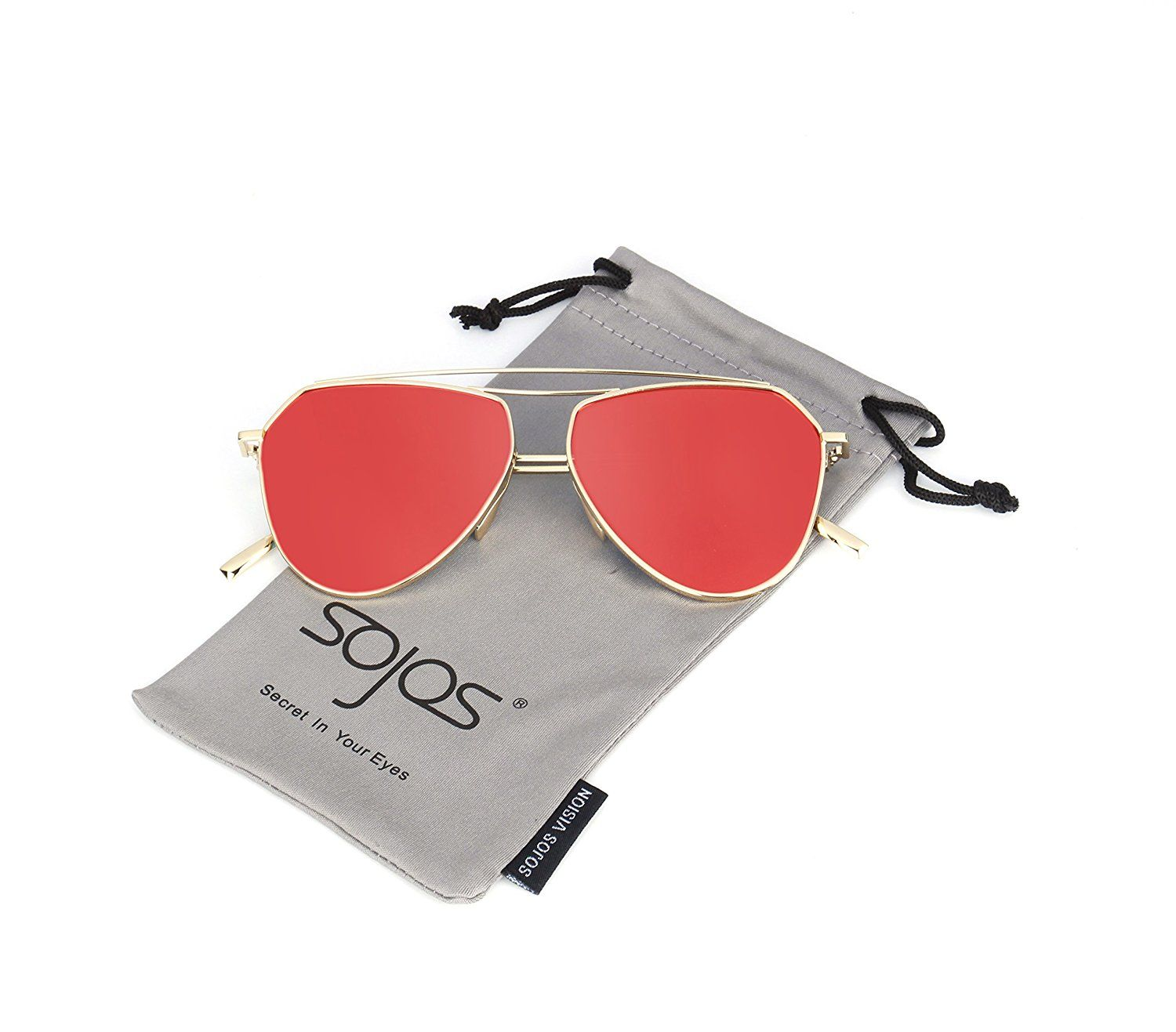 Amazon.com: SojoS Classic Metal Double Bridge Aviator Style Flash ...