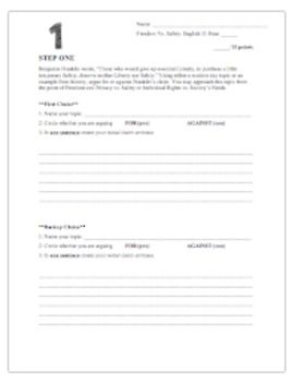 Freedom V Safety Essay Writing Proces Step Common Core Argumentation Prompt On American Revolution