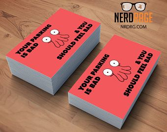 Zoidberg Bad Parking Cards Stack Of 50 Funny Parking Card Novelty Business Card Great Gag Gift Bad Parking Cards Etsy