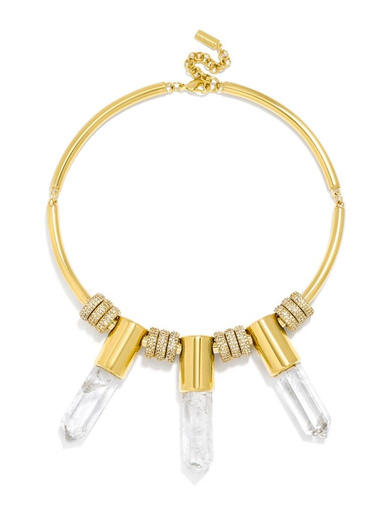 Olivia Palermo Guest Bartender Collection. A close-fitting collar with crystal quartz is equal parts glam and mystic. Each stone is unique so shape, color and size may vary. This style features genuine cut quartz.