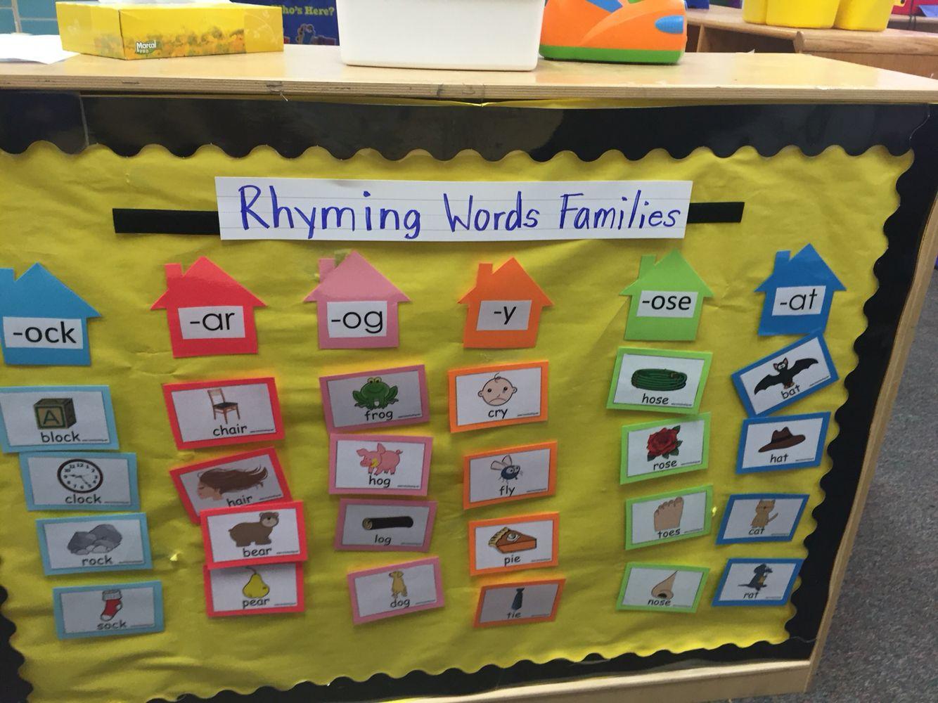 Rhyming Word Families Matching Interactive Bulletin