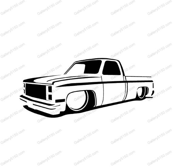 73 87 Chevy Truck Slammed Lowrider Dropped Decal Sticker