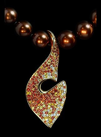 Mousson Atelier, collection Undina, necklace, Yellow gold 750, Pearl, Diamonds, Multicolored sapphires