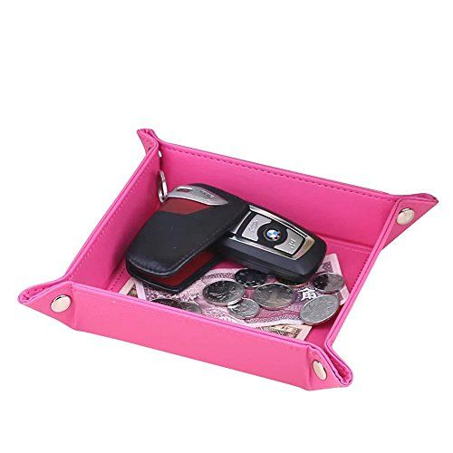 UnionBasic Fully PU Leather Jewelry Catchall Key Phone Coin Box Valet Tray Change Caddy Bedside Storage Box Roseo *** Check out the image by visiting the link. Note:It is Affiliate Link to Amazon.