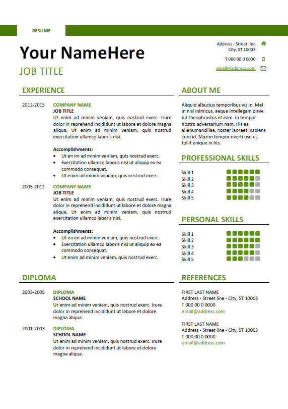 Simple Resume Templates Free Clean And Simple Resume Template For Word Docx  Green