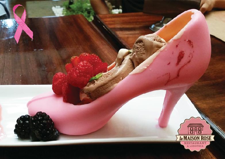 Zapatilla de chocolate rosa. Todos en apoyo contra el cáncer de mama. Su compra se donara a la Fundación contra el cáncer de mama.
