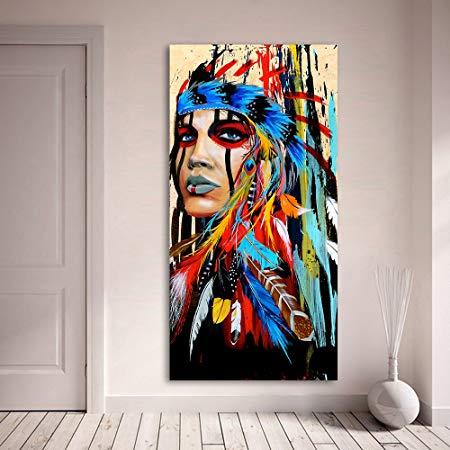 amazon de karen max hochformat leinwandbild fur wohnzimmer indische frau gefedert stolz gemalde leinwandkunst wandmalerei ideen moderne abstrakte kunst foto auf leinwand 100x100 express druck