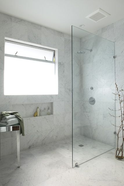 Love The Small But Large Feeling Marble Wetroom Window In Shower Bathroom Layout Small Bathroom