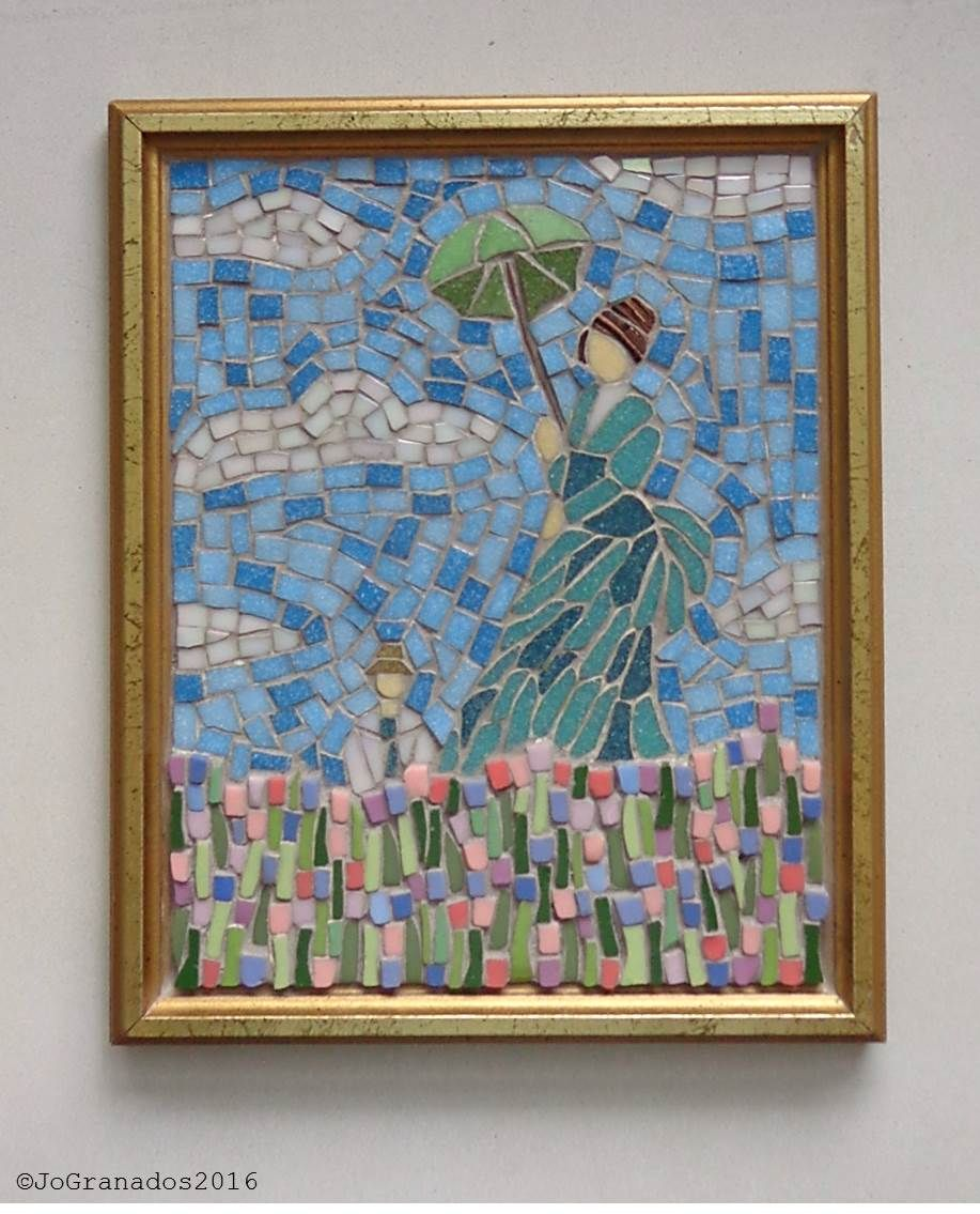 Mosaic inspired by Monet\'s painting Woman with Parasol (9x11 inches ...
