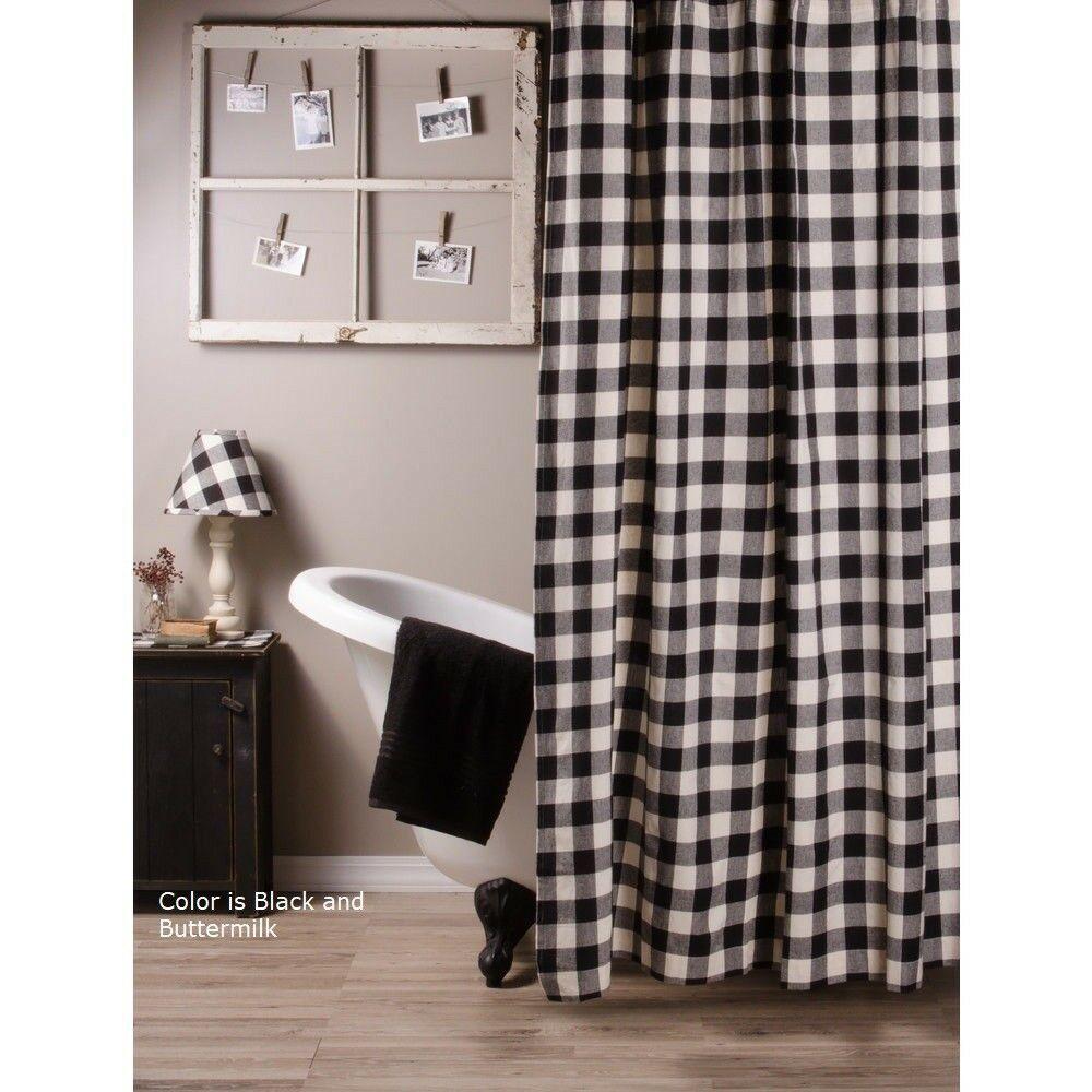 Details About Black Buffalo Check Shower Curtain Raghu Farmhouse