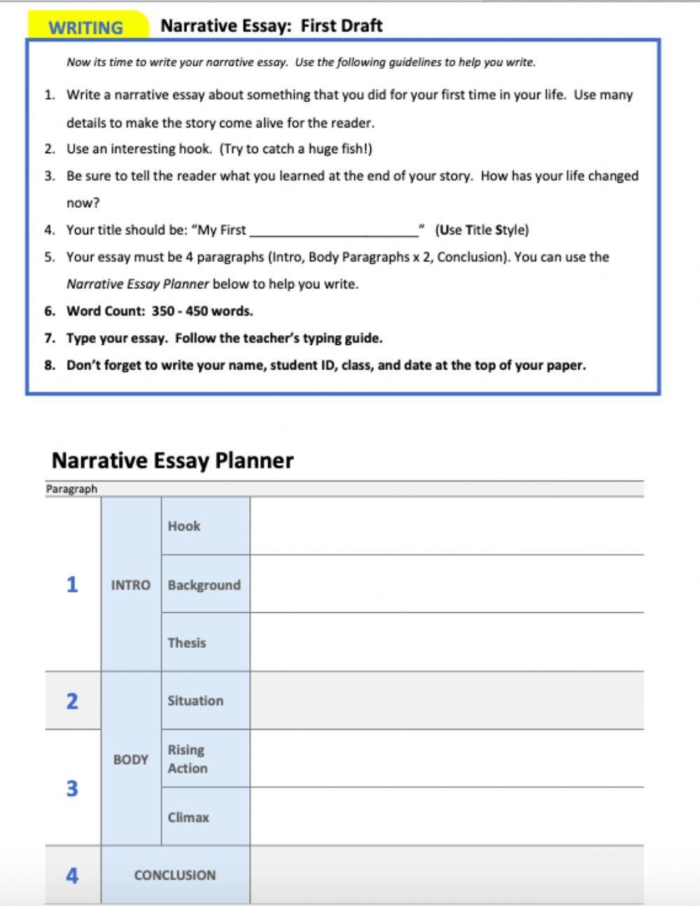 Planning A Narrative Essay Interactive Worksheet Narrative Essay Essay Plan Essay [ 1295 x 1000 Pixel ]
