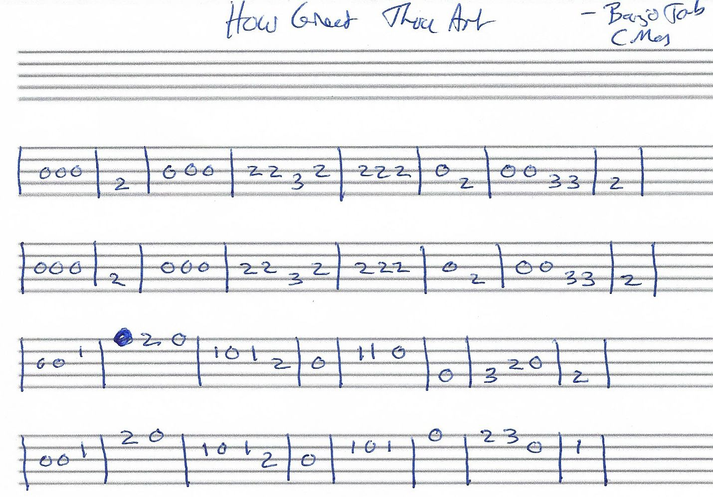 How great thou art banjo tab c major banjo tabs