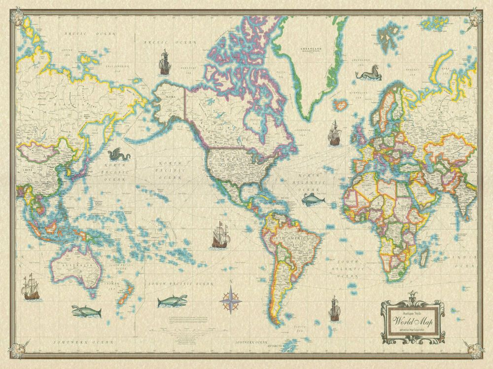 Large Vintage Antique World Map Poster Wall Art Print Decoration - Large vintage world map poster