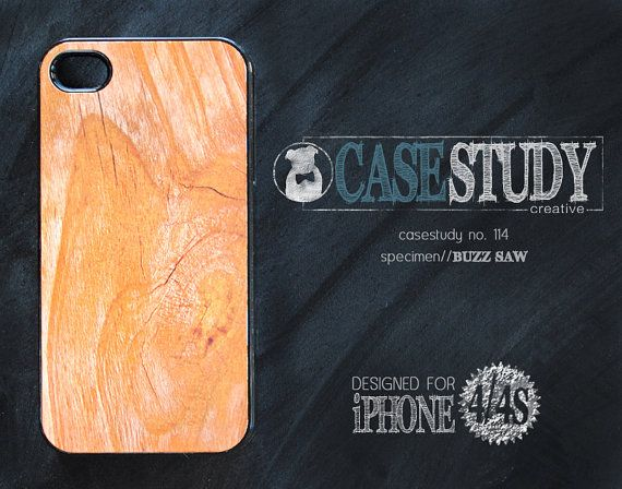"""CASESTUDY No. 114 - """"Buzzsaw"""" case for iPhone 4/4S.  The scientists here at the CASESTUDY scientific research facility (that's a fancy schmancy term for fun-loving, creative shop) are totally inspired by nature's textures. In our humble studio, we've extracted the design DNA from natural wood grain to create this faux-wood, smart-phone case."""