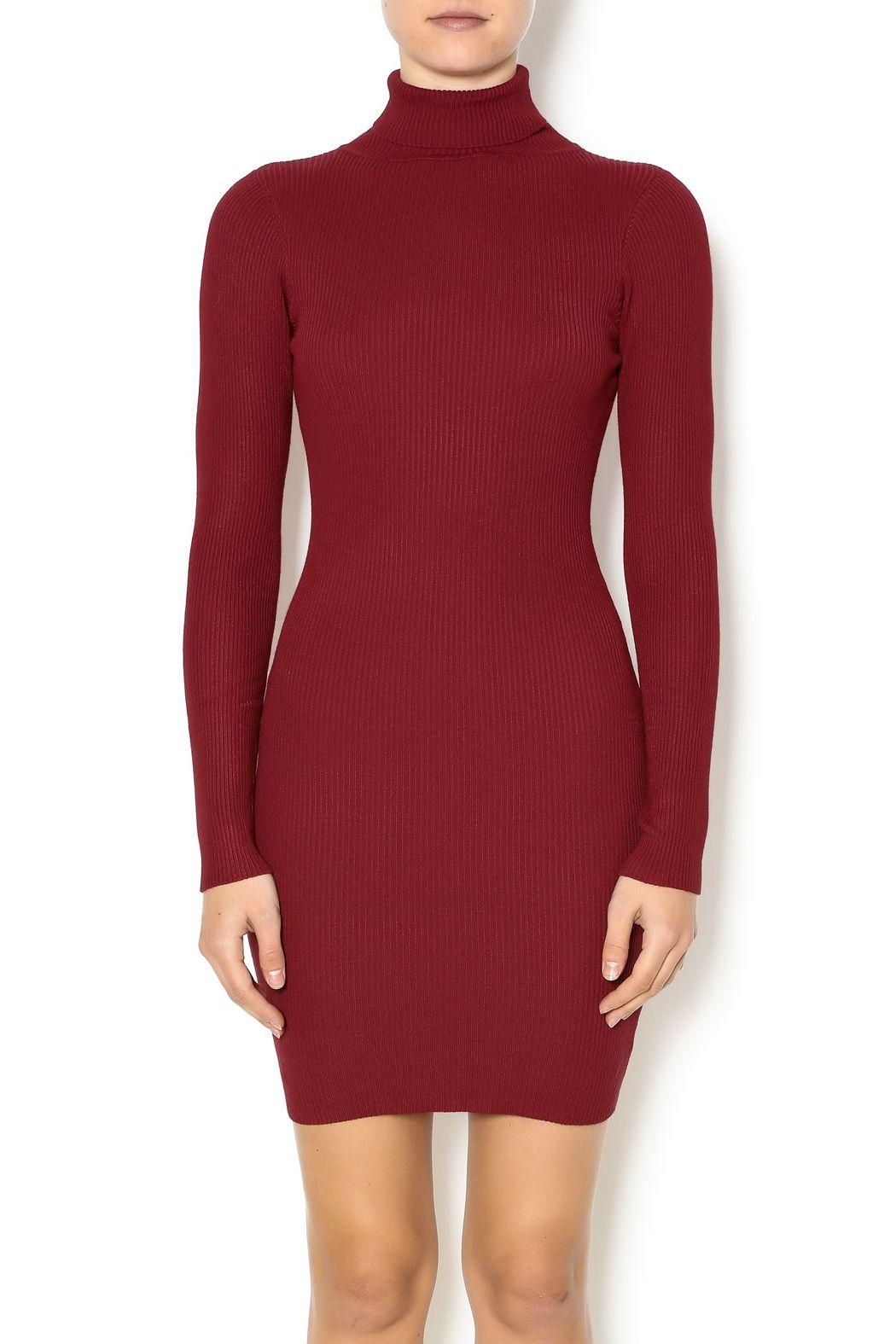 bc672cebe0 hera collection Burgundy Turtleneck Sweater Dress