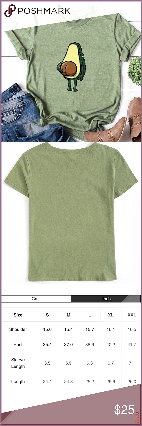 Avocado Graphic Tee   Avocado Cartoon Graphic Tee  100 Cotton  Shirts run smal  Please use measurem