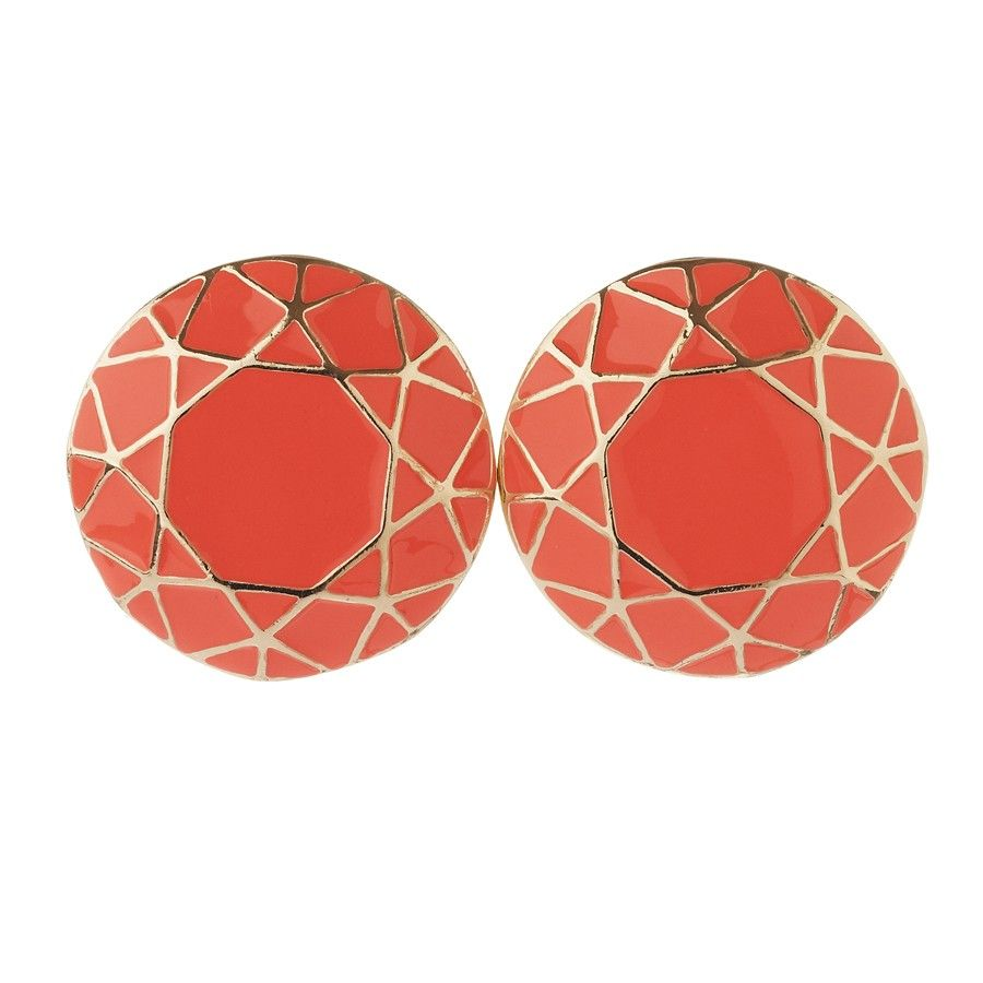 Coral Enamel Sun Cut Out Studs from Diva (AUD $12.99).