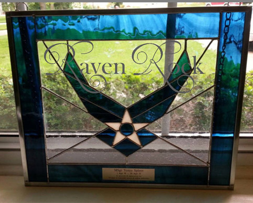 Air Force Military Stained Glass Personalized