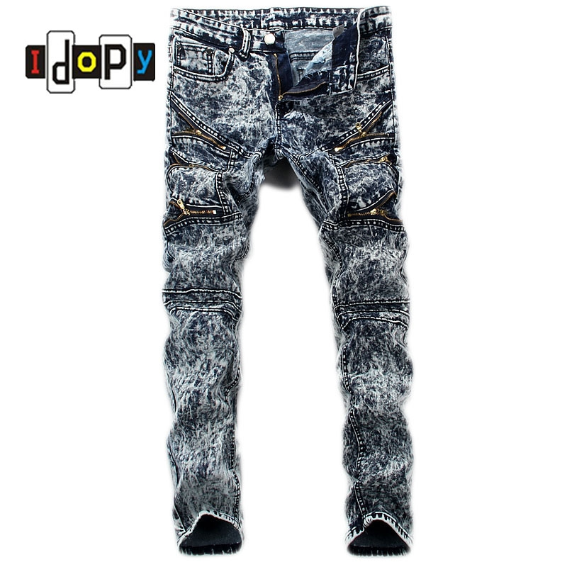 (29.65$)  Watch here - http://aifi5.worlditems.win/all/product.php?id=32789527514 - Men's Retro Brand Designer Jeans Men Vintage Washed Slim Fit Jeans With Mulit Zippers Hip Hop Punk Style Denim Pants For Men