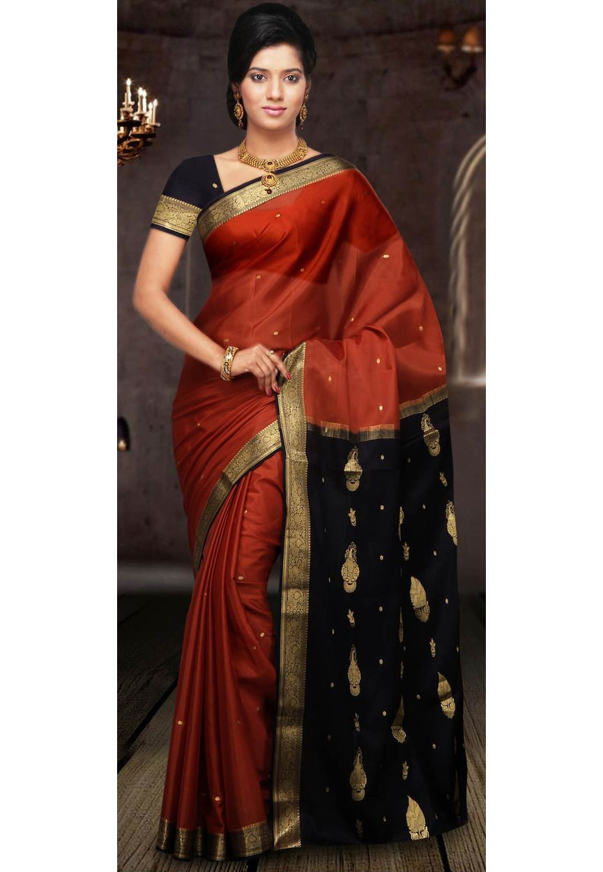 2d47b91245 Rust and Dark Navy Blue Pure Mysore Silk Saree With Blouse: STC142 ...