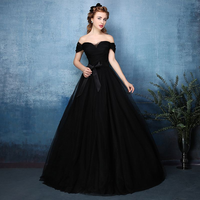 c9e7881b472 2016 Vintage Gothic Black Tulle Ball Gown Non White Wedding Dresses Long Off  the Shoulder Floor Length Colorful Bridal Gowns-in Wedding Dresses from ...