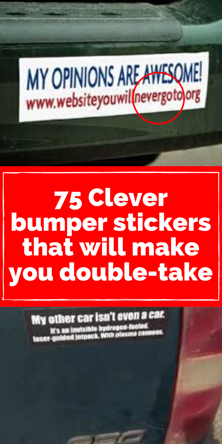 75 Clever Bumper Stickers That Will Make You Do A Double Take Clever Bumper Stickers Funny Pictures Fails Bumper Stickers [ 1472 x 736 Pixel ]