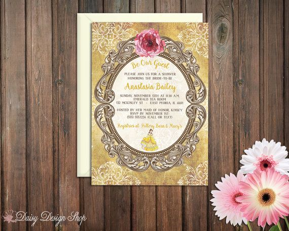 This Beauty And The Beast Inspired Shower Invitation Features A Vintage Damask Background Ornate