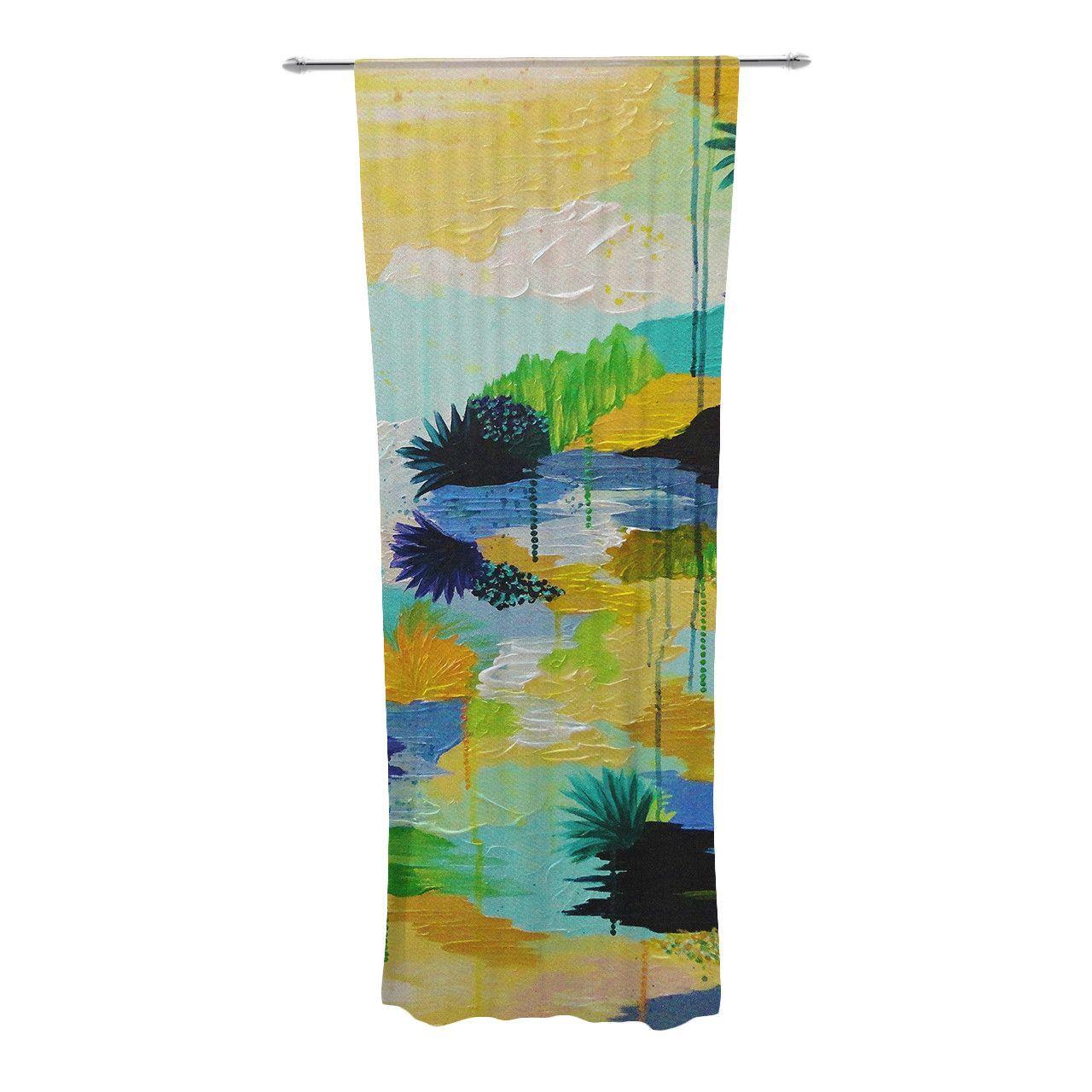 """Ebi Emporium """"Journey to Paradise"""" Yellow Aqua Decorative Sheer Curtain"""
