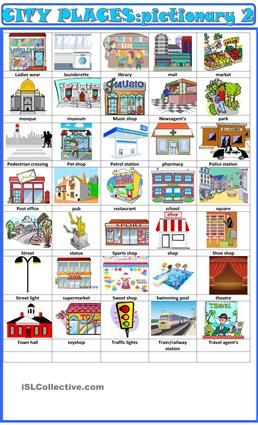 city places pictionary 2 city places learn french worksheets french class. Black Bedroom Furniture Sets. Home Design Ideas