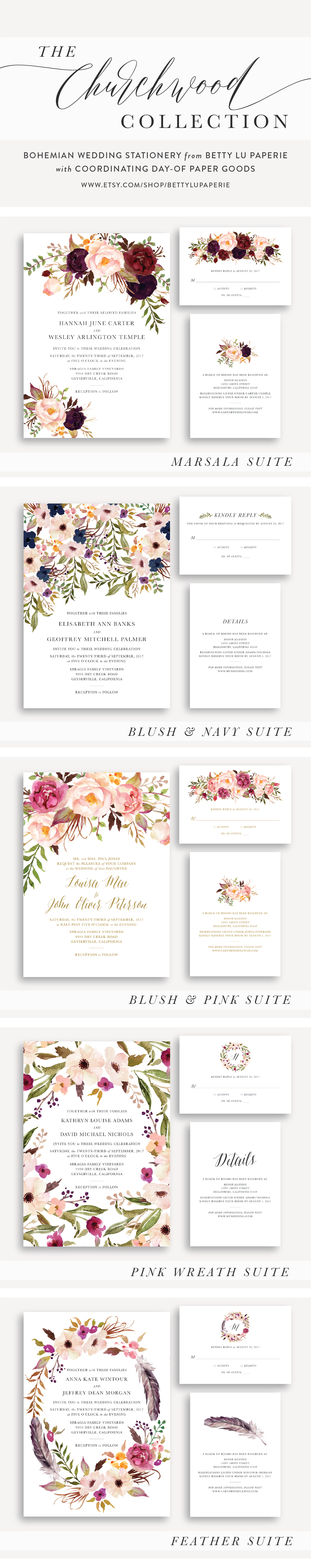Bohemian Wedding Invitations Floral Wedding Invitations Watercolor