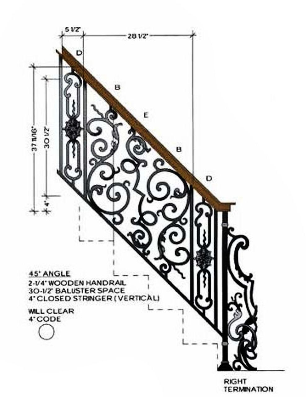 Hfbx Term Rt Right Hand Bordeaux Term Stair Railing Design Iron