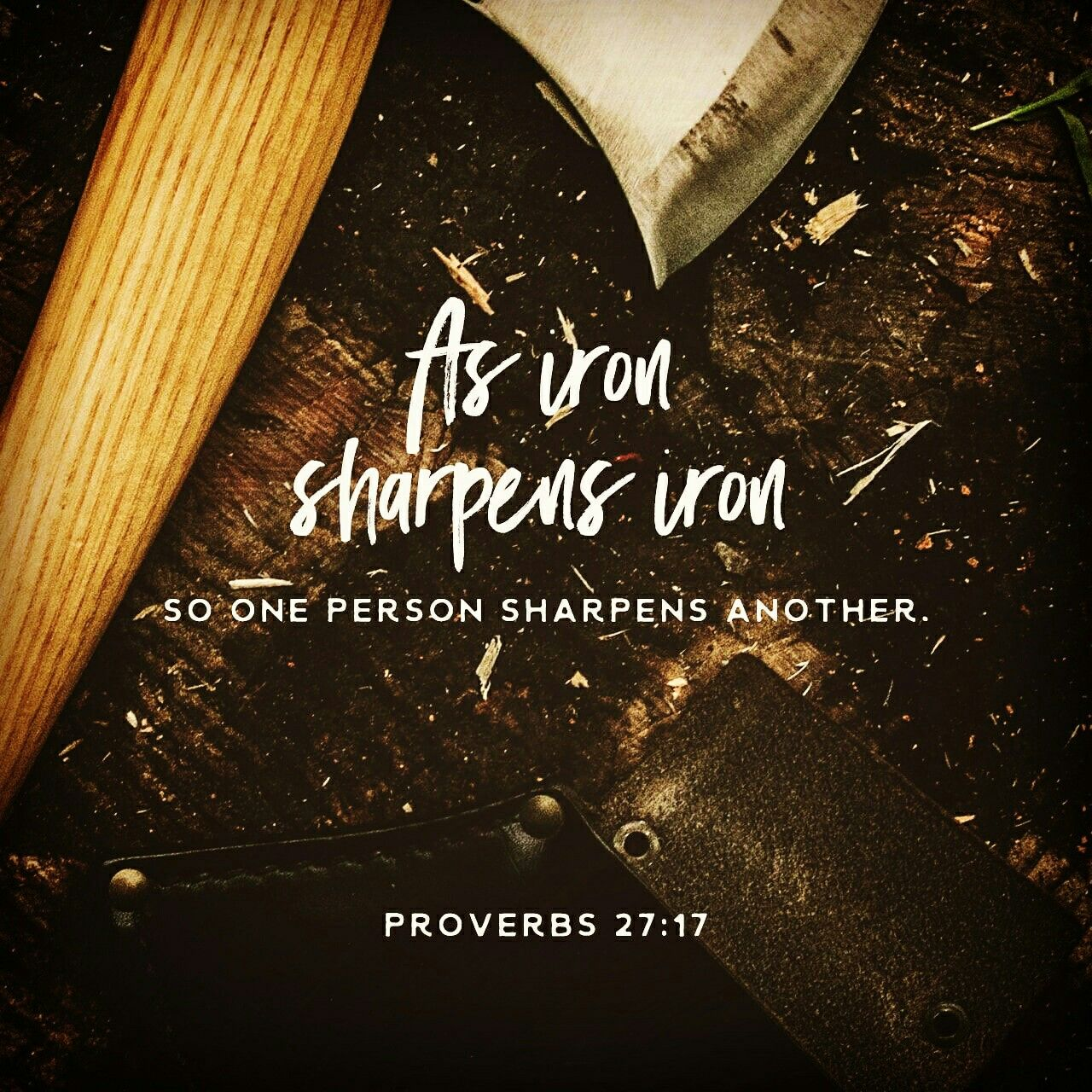 Proverbs 27:17 NIV - As iron sharpens iron, so one person ...